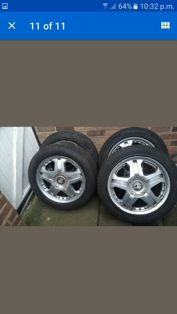 Alloy wheels with great tyres 18 inchin Sandwell, West MidlandsGumtree - For sale set of four 18 inch alloy wheels with great tyres. Tyres size is 235 50 18. The tyres have plenty of thread left on them. One tyre is Bridgestone and one is Continental the other two are less known brands. One of the centre caps is missing....