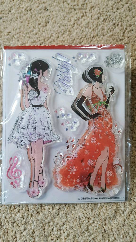 PARTY GIRLS CLEAR RUBBER STAMPS - BRAND NEW IN PACKAGING