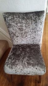 Bedroom chair newly upholstered in silver crushed velvet