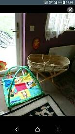 Moses basket and stand and jungle gym chad valley