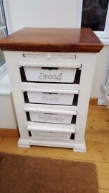 French Farmhouse kitchen storage unit with drawers for vegetables and bread
