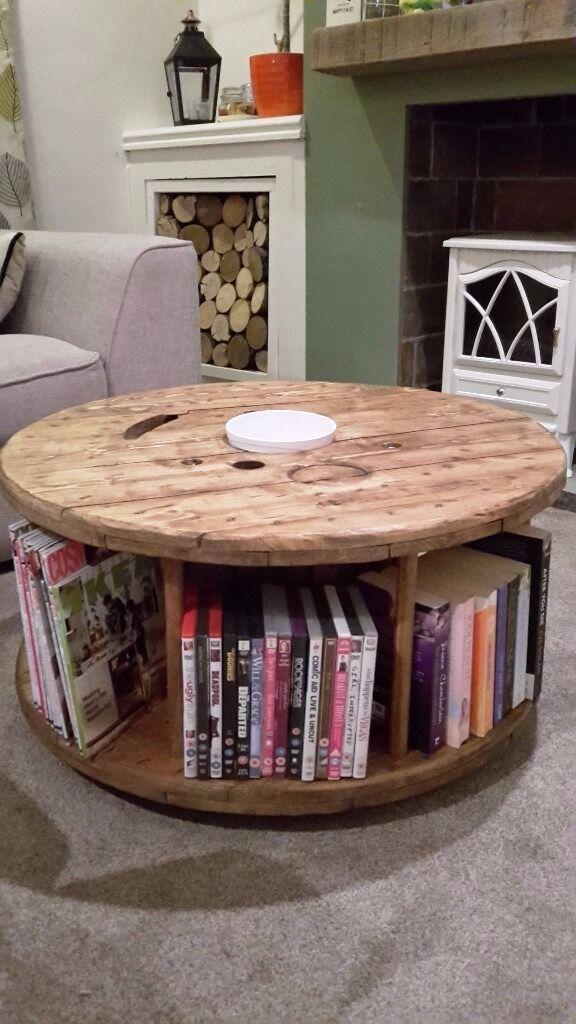 Upcycled Cable Reel Bookcase Coffee Table
