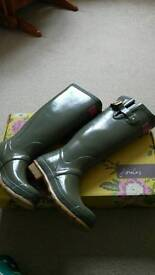 Joules Glossy Green Wellies - Size 4 -