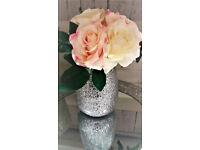 table decoration; wedding centrepiece; sparkle shiny glass vase