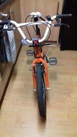 orange bmx bike.