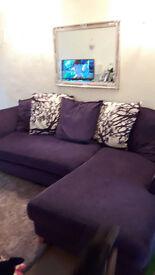 *Must go today* Purple DFS Corner Sofa Left Hand facing £80 ONO