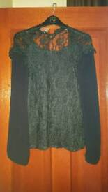 Black long sleeved lace top