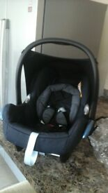 black maxi cosi car seat and storm cover £50.00