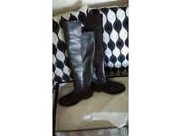 Dune black leather over the knee boots original price £100