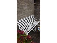 Garden Bench wrought iron 3 frame with wooden slat seat (13)
