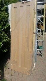 oak veneer door 27 x 76 3 panel nrw and unwanted a little shop soiled but still in wrapping £65