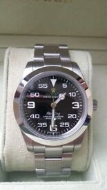 rolex air king black face green sweeping hand , sapphire glass, folding clasp, waterproof