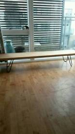 Hairpin legs solid oak bench
