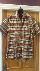 Mens XL Topman Aztec Print shirt Short Sleeved