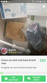 Graco car seat and iso fix base BNWB