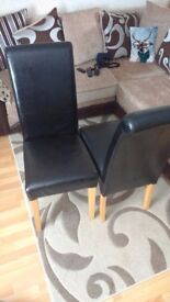 dining chairs x 2, Dark Brown Leather with Natural Oak Legs