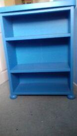 Kids blue bookshelf and matching bedside table (IKEA)