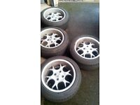alloy wheels borbet bs15 with 195.50.15 toyo proxes tyres -1 damaged