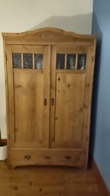 Antique Double Continental Pine Wardrobe With Original Glass Panels