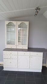 Storage units with work top plus display cabinet.