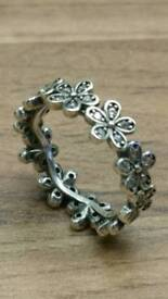 silver s925 sparkling daisy ring