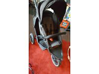 Phil and Teds explorer double with car seat attachment and rain cover