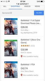 Battlefield 1 Xbox one new
