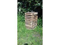 Wooden Garden Compost Bin with Lid and Door