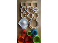 Selection of pastry cutters and juice squeezer