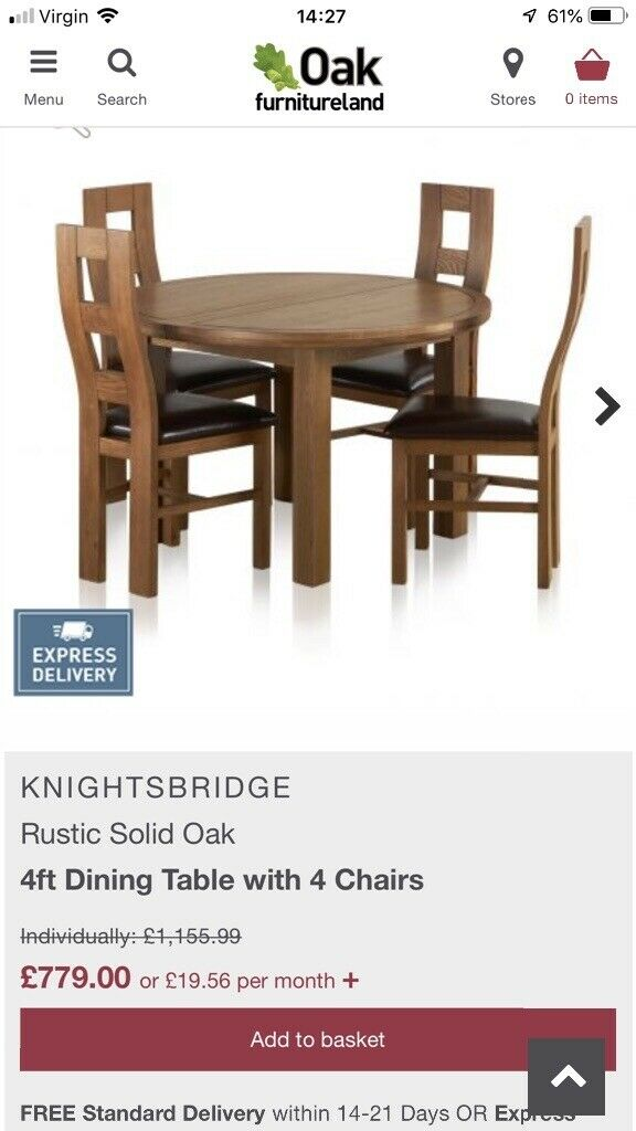 Oak Furniture Land Extending Circular Oval Solid Oak Table And 4 Chairs