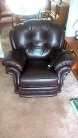 Reclining Armchair, Burgundy Leather, Electrically Operated