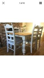 Oak table and 6 chairs painted F&B grey