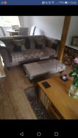Dfs 4 seater stag sofa and footstool