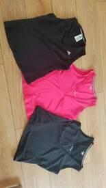 X 3 gym tops 2 reebok and 1 addidas