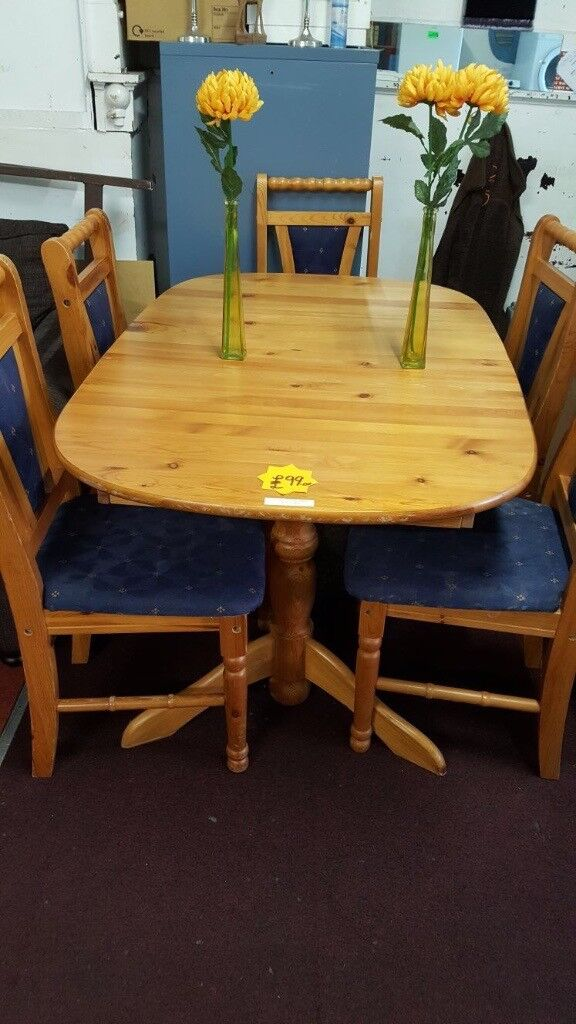 pine table and 5 chairs for sale