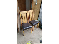 4 x Dining Chairs - Oak and Faux Leather chairs