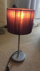 Lamp - Purple, Bedside, Fabric Shade, Great Condition