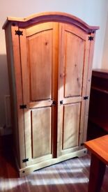 Lovely large wooden double wardrobe £75 ono