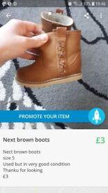 Kids girls brown next boots uk 5 £3