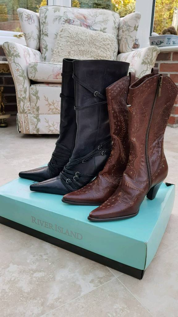 2 pairs New Leather boots River Island