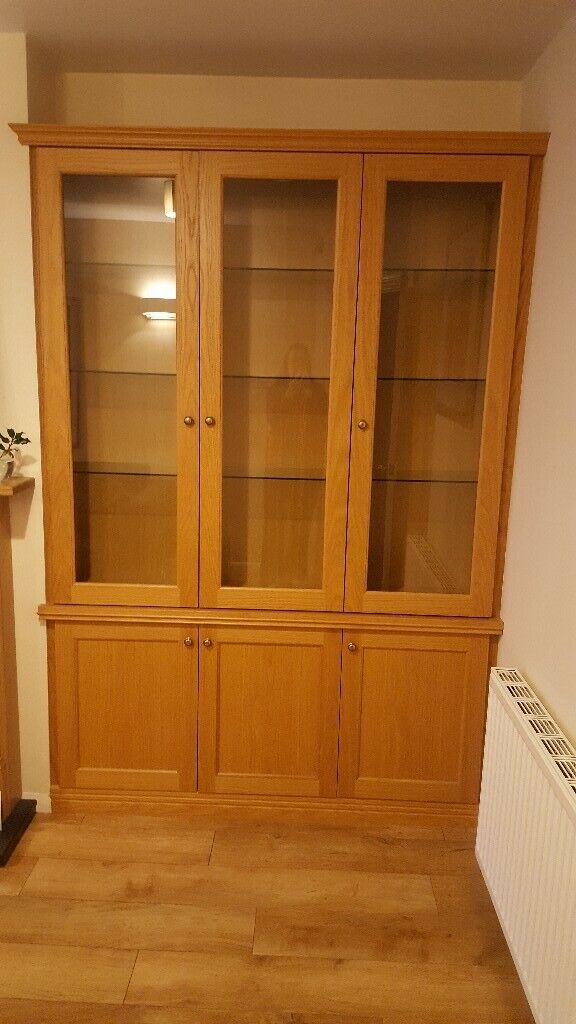Glass Door Living Dining Room Dusplay Cabinet With Lights