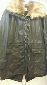 Black wax coat brand new size 22