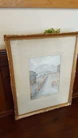 watercolour painting of Newcastle quayside by Victor Noble Rainbird, signed