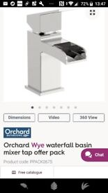 Waterfall mixer tap - Orchard Wye model from Vic Plumb - for bathroom basin, with waste parts.
