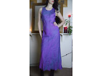 Two-tone Silky Long Dress Purple Paisley Floral Design