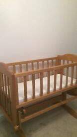 Wooden Rocking crib with matress