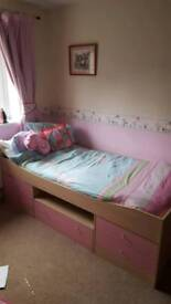 Beech and pink Malibu low cabin bed