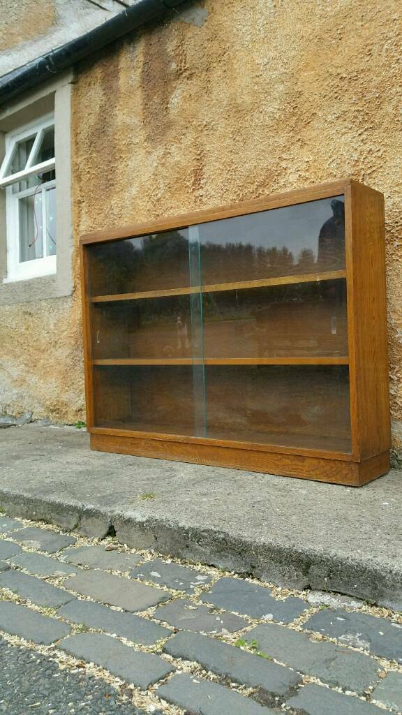 Vintage Oak Bookshelves Glazed Storage
