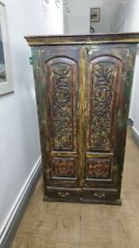 19th Century Exotic Indian Hardwood painted wardrobe