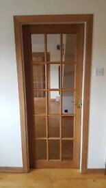 Internal wooden door with 15 glass panels 1970mm x 760mm
